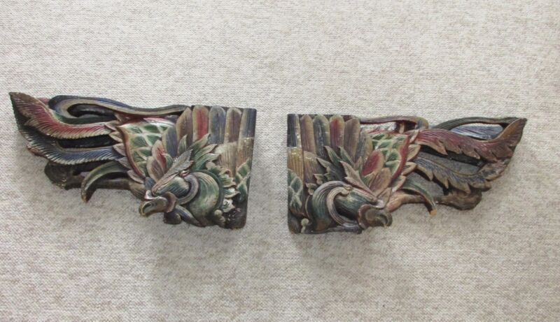 Pair Old or Antique Oriental Asian Wood Carving Architectural Brackets w Pheonix