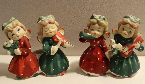 Commodore Musical Christmas Angel Candle Holder Set of 2