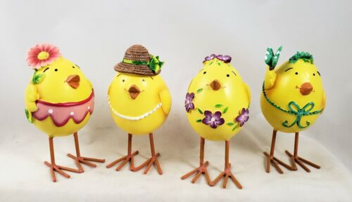 Spring Chicks Set of 4 Figurines New So Cute Easter Parade