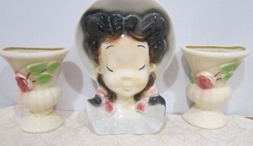 Vintage Royal Copley Girl with Pigtails wall pocket & 2 smaller wall pockets