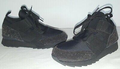 Hogan Women's Black Neoprene Slip On Lace Glitter Sneakers Size 35.5 EUR 5.5 US