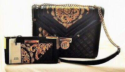 Beautiful River Island BNWT  black and gold bag and purse
