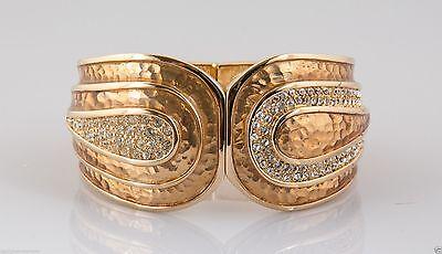 Judith Leiber Pearl Gold Enamel Cuff w/ Swarovski Pave Crystals Bracelet