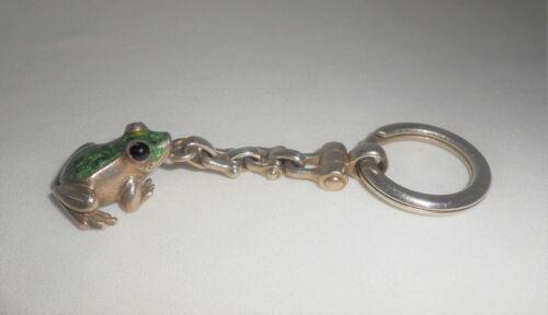 Tiffany & Co Sterling Silver & Enamel Frog Key Chain Key Ring 1990