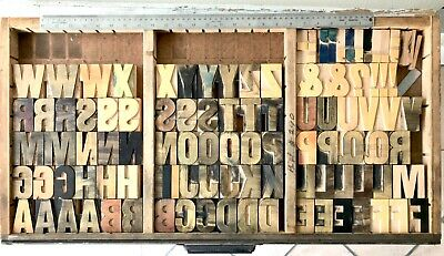 Vintage 100 Wood Letters Letterpress Print Type 2-12 2.5 Complete Set Lot