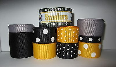 GROSGRAIN PITTSBURGH STEELERS FOOTBALL RIBBON LOT FOR MAKING BOWS CRAFTS 10 YDS