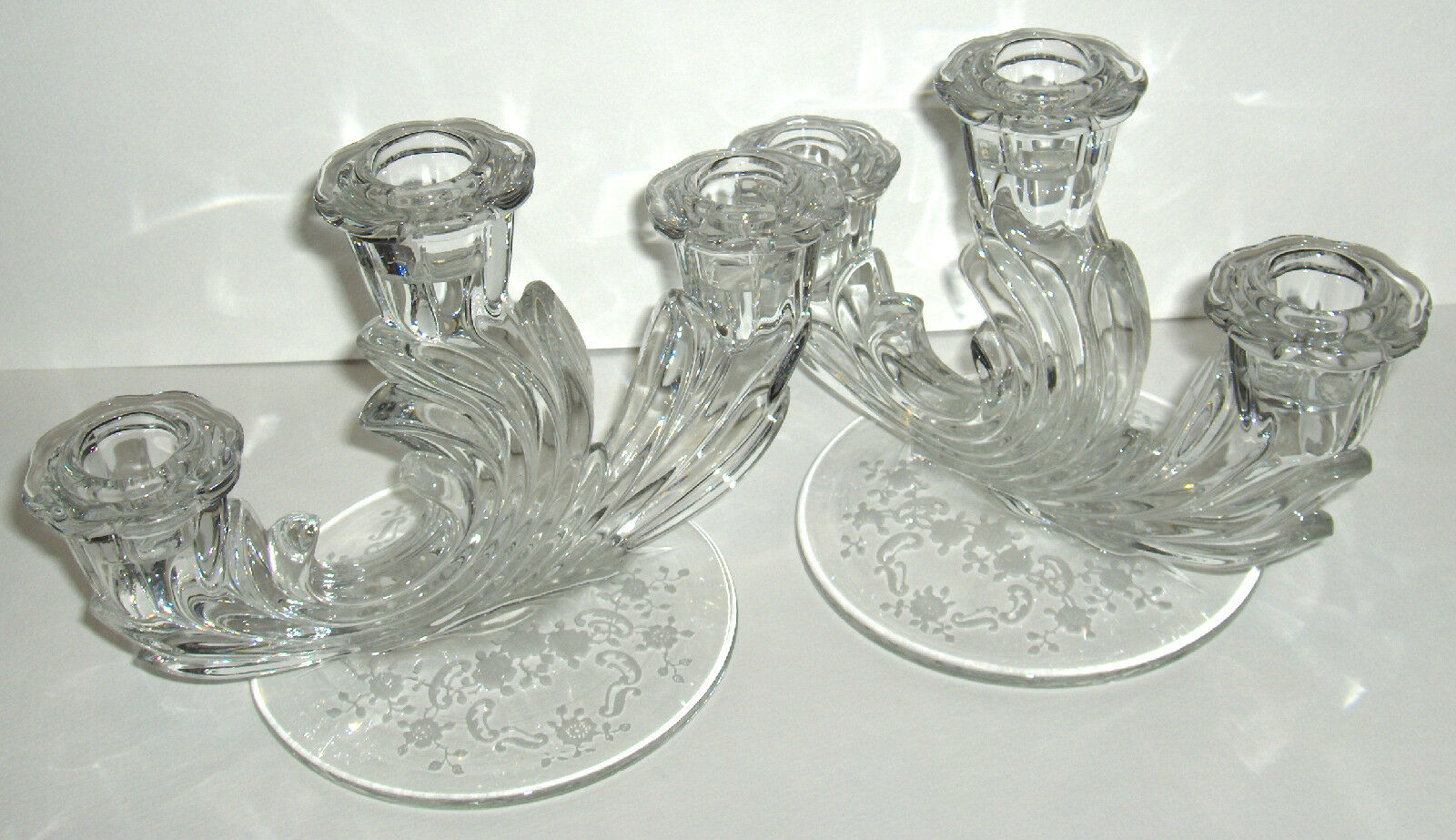 Vtg pair fostoria baroque etched glass triple candelabra for Clear baroque glass