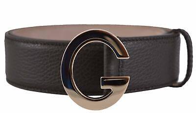 New Gucci Women's 362732 Brown Textured Leather G Logo Buckle Belt 32 80