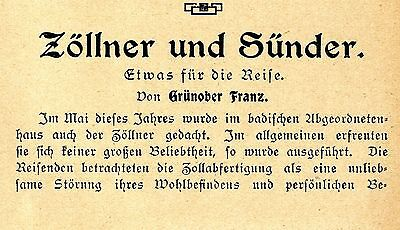 Grünober Franz Zöllner und Sünder Zollabfertigung Zollpflicht bei Reisen v.1906
