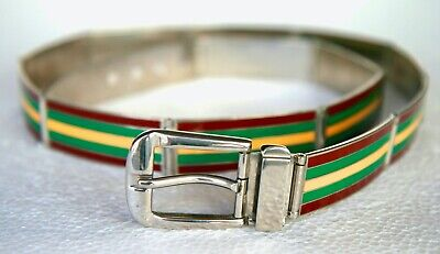 Gucci Vintage Silver Belt Featuring Articulated Links Red/Green/Yellow Enamel