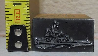 Vintage Tug Fishing Boat Logo Metal Wood Letterpress Printing Block