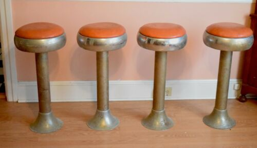 Vintage Set (4) RETRO Chrome Original  Fountain Diner Bar Swivel Stools BAR FIND