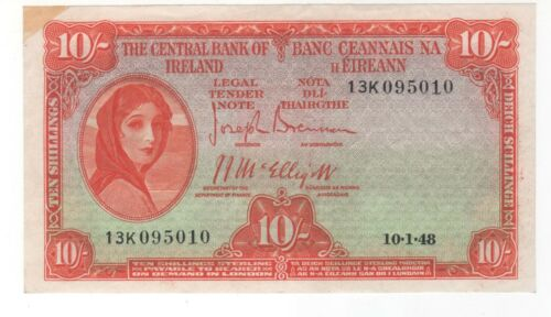 Crisp UNC  1948  Central Bank of Ireland  Lady Laverly  10 Shilling note