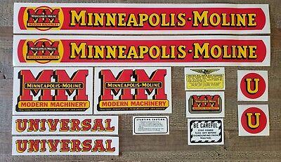 Minneapolis Moline Model U Tractor Decal Set