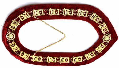FREEMASON MASONIC Collar Shriners Shriner GOLD Plated RED Velvet