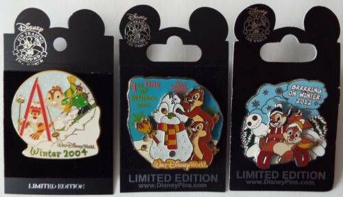 Chip & Dale Winter Pins Skiing 2004 1st Day 2007 Brrrrring 2012 Disney Lot of 3