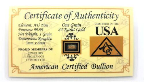 1/15 Gram .9999 Fine 24k Gold Bullion Bar - in Certificate of Authenticity Card