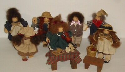 Vintage Lizzie High Wood Dolls & Table Lot of 7  Made in the USA