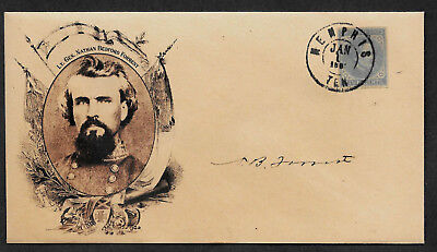 Nathan B Forrest collector envelope w original period stamp 155 years old *A09