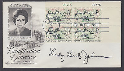 Lady Bird Johnson, US First Lady, signed Beautification of America FDC