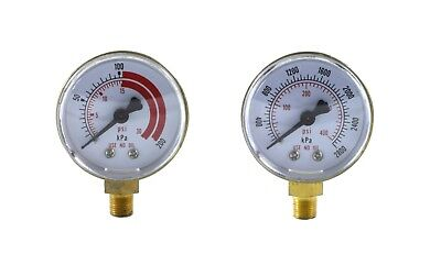 Pair Of Gauges For Acetylene Regulator  Low High - 2 Inches - 18 Npt Thread