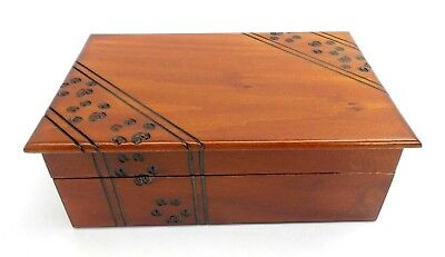 - Pet Cremation Urn Medium Paw Print Wood Box Cat Dog Wood Chest Ashes Memorial
