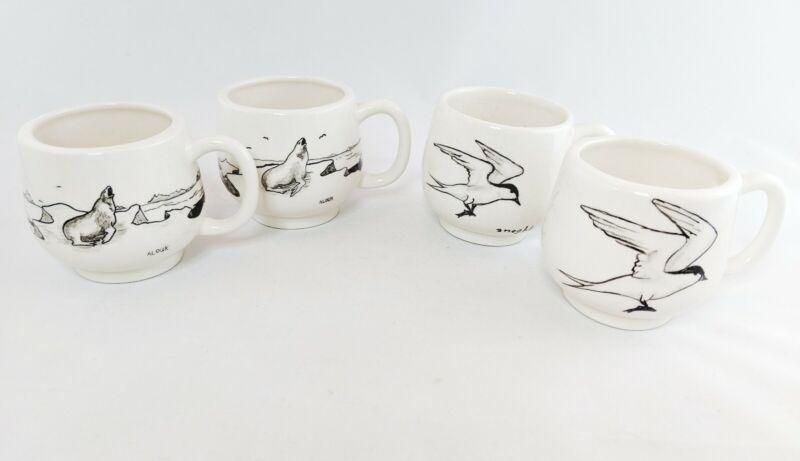 Bering Sea Originals Vintage Lot of 4 Cups Hand Painted Gulls Walruses 1970 EUC