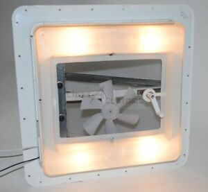 Roof VENT w/ FAN & LIGHT 12 volt white exhaust camper rv cargo Heng's V771212-C