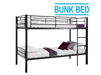SALE ON FURNITURE -SINGLE METAL BUNK BED FRAME w 2 MEMORY FOAM MATTRESSES.CALL NOW