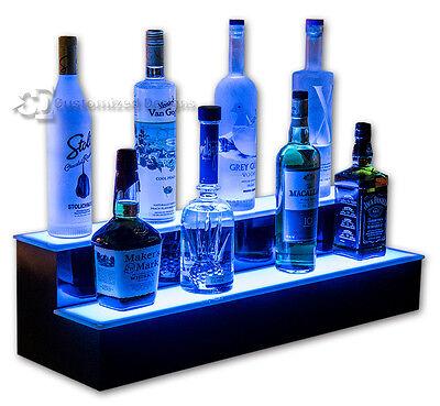 34 2 Step Tier Led Lighted Shelves Illuminated Liquor Bottle Bar Display Stand
