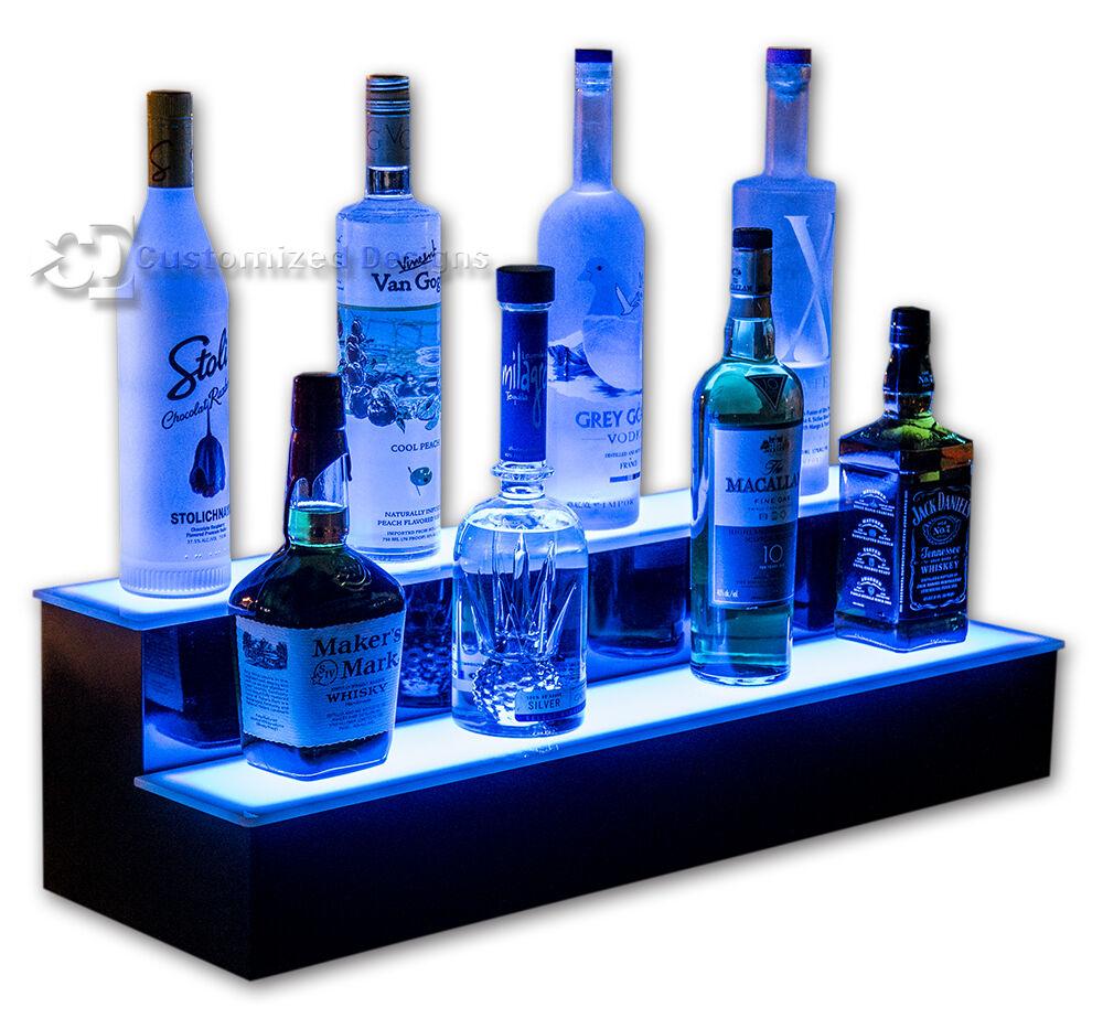 32 Quot 2 Step Lighted Bottle Shelves Led Liquor Display