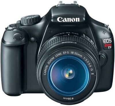 Canon EOS Rebel T3 12.2MP DSLR Camera, Black. EF-S 18-55 IS II, slightly used