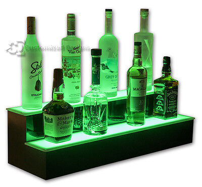 32 2 Step Tier Led Lighted Shelves Illuminated Liquor Bottle Bar Display Stand