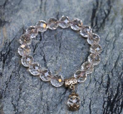 Natural Clear Quartz Crystal Bracelet 64 Section Cut Beaded Sphere Stretch Luck Section Crystal Bracelet