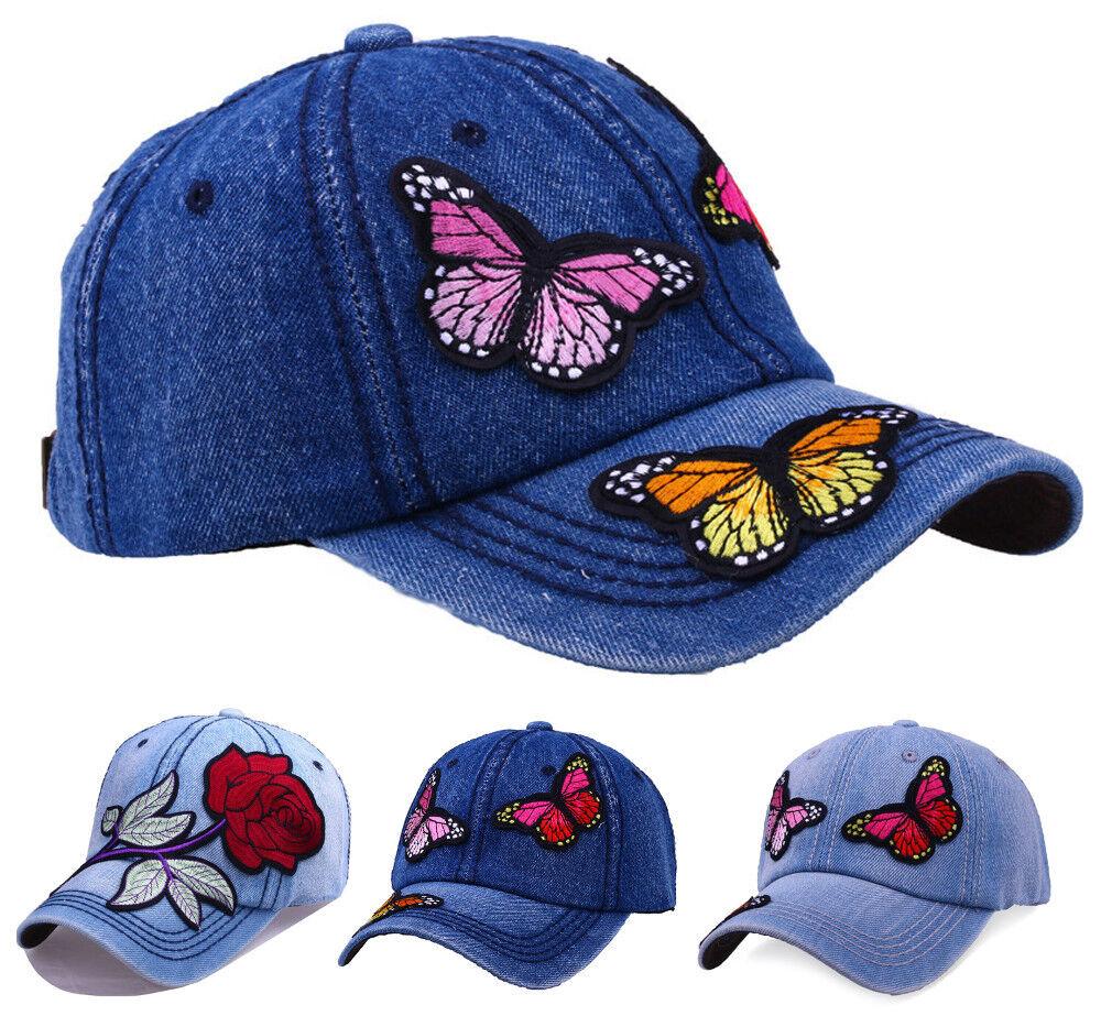 Damen Jeans Kappe Basecap Baseball Cap Mütze mit Blumen Schmetterlinge Muster