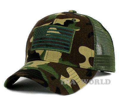 USA American Flag hat Mesh Tactical Operator Snapback Baseball cap- ARMY Camo