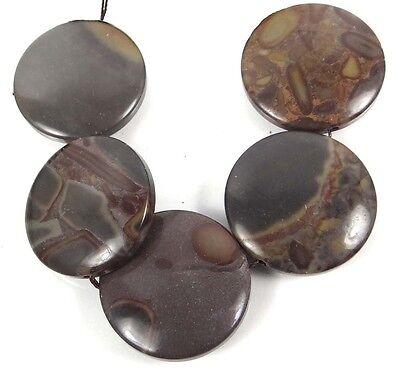 Jasper Disc - 30mm Natural Coffee Jasper Coin Disc Beads (5)