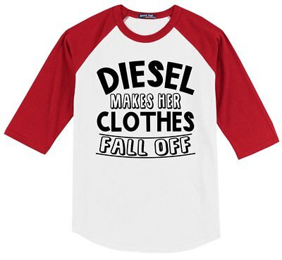 Diesel Makes Her Clothes Fall Off Funny Mens 3/4 T Shirt Truck Redneck Tee