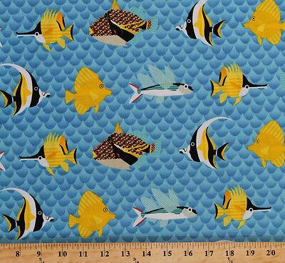 Pacific Reef Tropical Fish Ocean Sea Waves Blue Cotton Fabric Print BTY D674.07