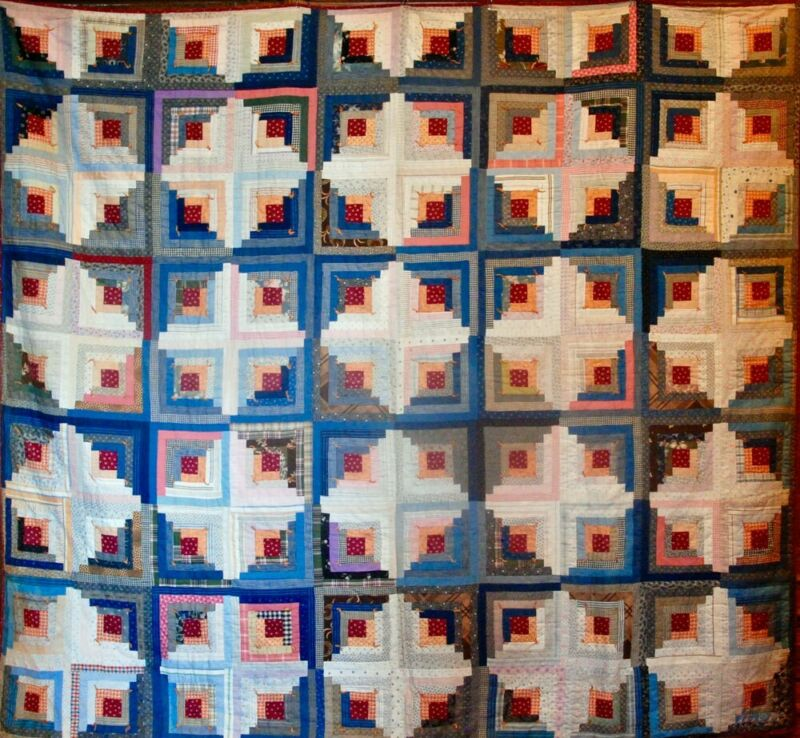 2 for 1 DOUBLE SIDED VIBRANT ANTIQUE LOG CABIN QUILT ~ READY TO USE ~ XLG BLUE