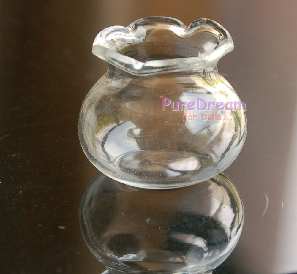 Wholesale 1:12 Dollhouse Miniatures Wavy edge glass Vase Jar Bottle 10 Pieces