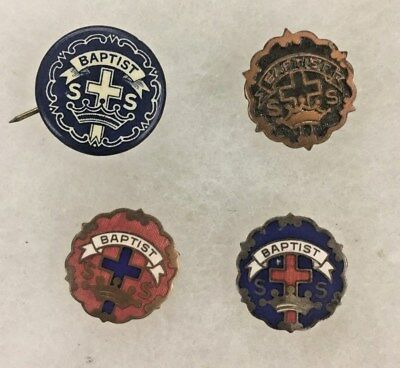 4 Vintage Baptist SS Cross Crown Lapel Tie Tack Button Pinback Pins