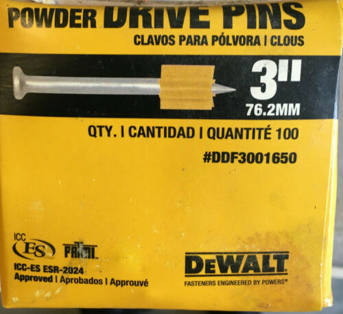 "DeWALT Powder Drive Pins 3"" DDF3111650 Box of 100 NEW"