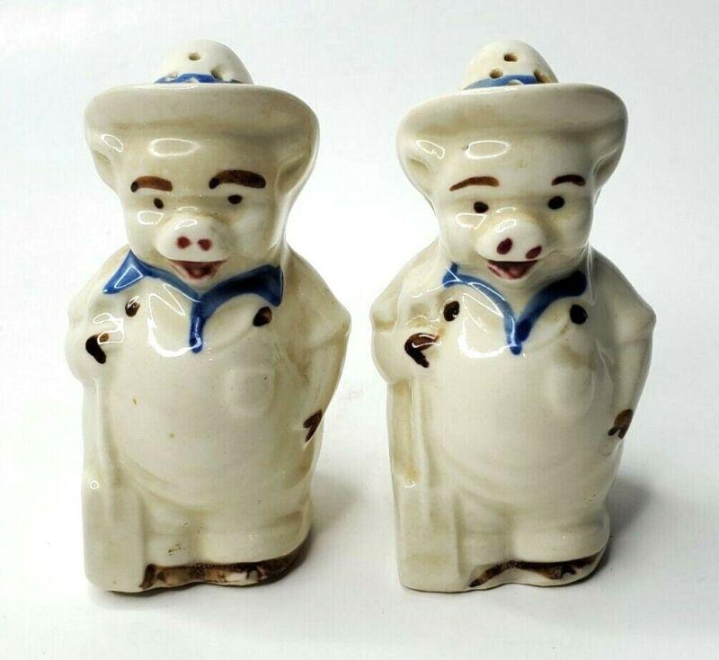 Vintage Shawnee Pottery Farmer Pigs Salt Pepper Shakers Circa 1950