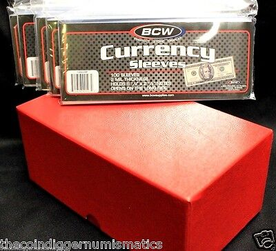 Currency Storage Box RED + 500 BCW Banknote Sleeve Holder Regular Modern Size
