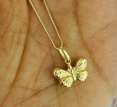 14k Yellow Gold Puffed Butterfly Diamond Cut Pendant Charm with Box Chain Light  14k Yellow Gold Butterfly Chain