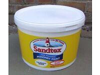 Sandtex Fine Textured Pure Brilliant White (PBW) Masonry Paint 10 Litre Tub (virtually full)