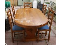 chunky heavy pine refectory table and 5 chairs