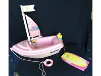 Baby born dolls — sailing boat with sail ,rubber ring ,surfboard