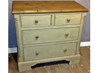 Stunning Antique style pine chest of drawers painted in Autentico chalk paint, shabby chic